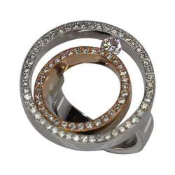 18 Karat White and Rose Gold Round Diamond Bezel Ring