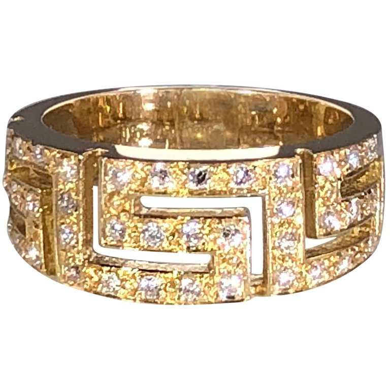 Yellow Gold 18 Karat Diamond Ring with the Greek Design