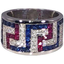 18 Karat White Gold Diamond Sapphires and Rubies Greek Ring