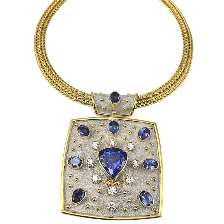 18 Karat Yellow White Gold Tanzanite and Diamond Necklace