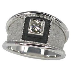 0.75 Carat Princess Cut Diamond Gold and Black Rhodium Ring