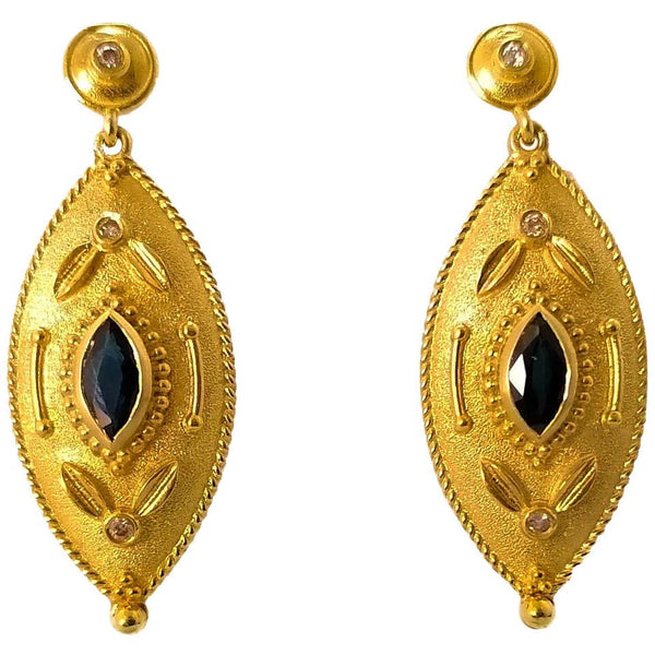 18 Karat Yellow Gold Diamond and Sapphire Drop Earrings