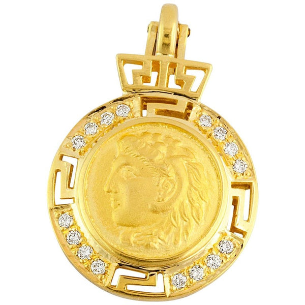 18 Karat Gold Diamond Coin Pendant of Alexander the Great
