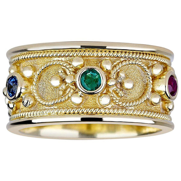 18 Karat Gold Byzantine Ring with Ruby Sapphire Emerald