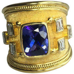 18 Karat Yellow Gold Tanzanite Cushion Cut and Diamond Ring