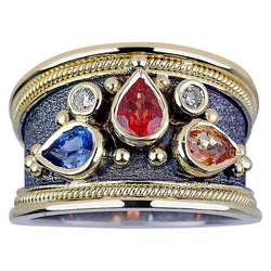 18Karat White and Yellow Gold Byzantine Multi Sapphire Ring