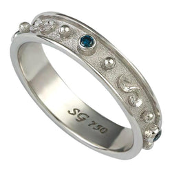 18 Karat White Gold Thin Blue Diamond Band Granulation Ring