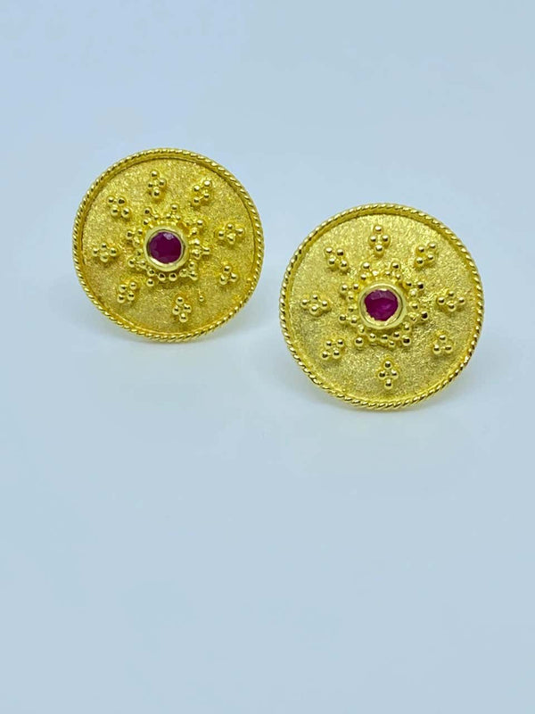 18 Karat Yellow Gold Ruby Byzantine Round Stud Earrings
