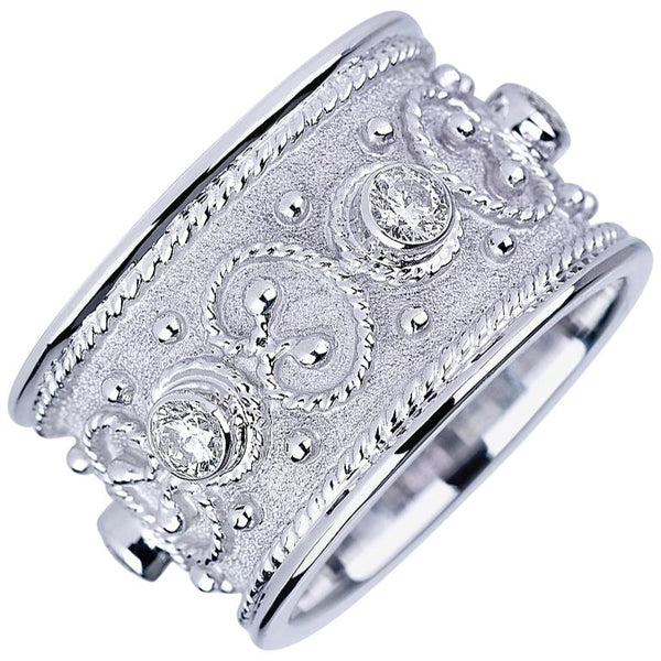 18 Karat White Gold Diamond Unisex Band Ring