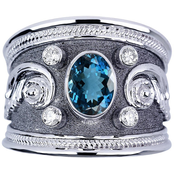 18 Karat White Gold Diamond Ring with London Blue Topaz