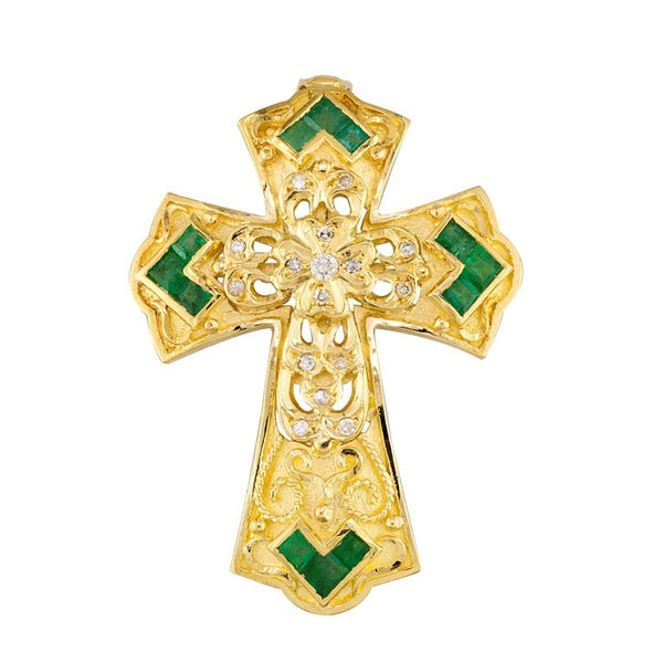 18 Karat Yellow Gold Diamond and Emerald Granulated Cross