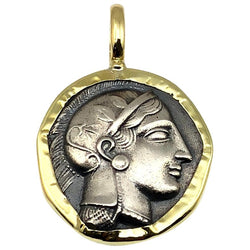 18 Karat Gold and Silver Coin Pendant Necklace of Athina