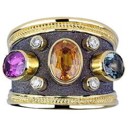 18 Karat Yellow Gold Multi Color Sapphire and Diamond Ring