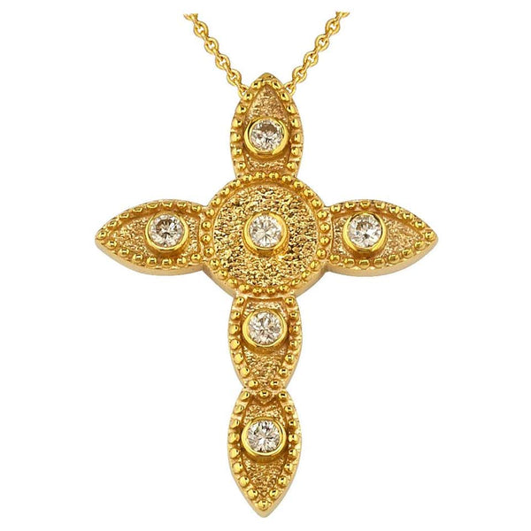 18 Karat Yellow Gold Diamond Thin Cross Pendant Necklace
