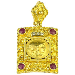 18 Karat Yellow Gold Diamond Ruby Coin Pendant of Athena
