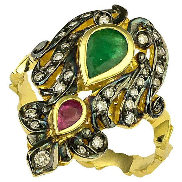 18 Karat Gold Diamond Emerald Ruby Ring with Black Rhodium