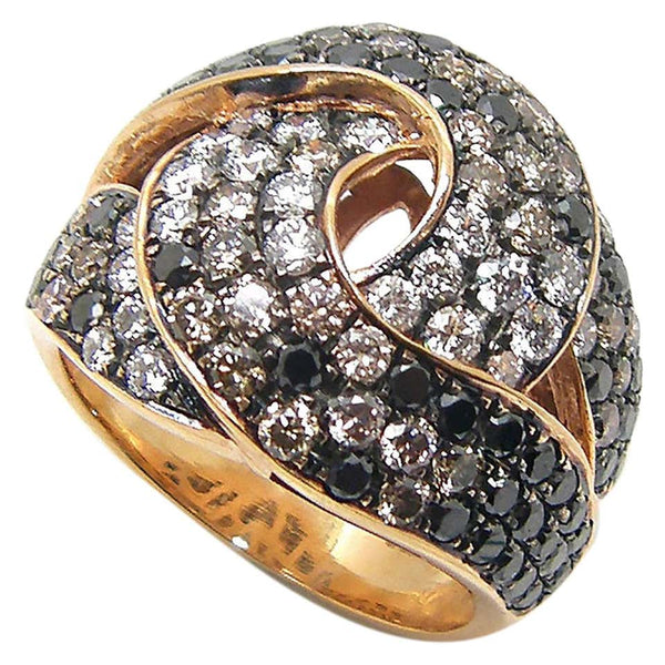 18 Karat Rose Gold White Black Brown Diamond Band Ring