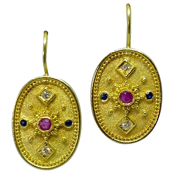 18 Karat Yellow Gold Diamond Ruby Sapphire Drop Earrings