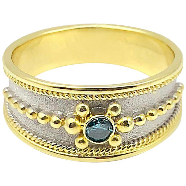 18 Karat Two Tone Gold Blue Diamond Ring with Granulation