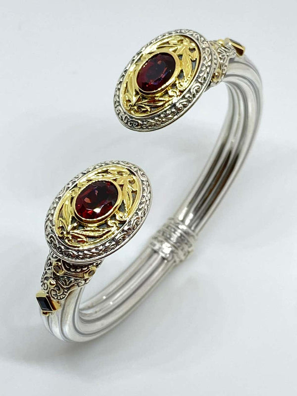 18 Karat Gold and Silver Red Garnet and Sapphire Bracelet