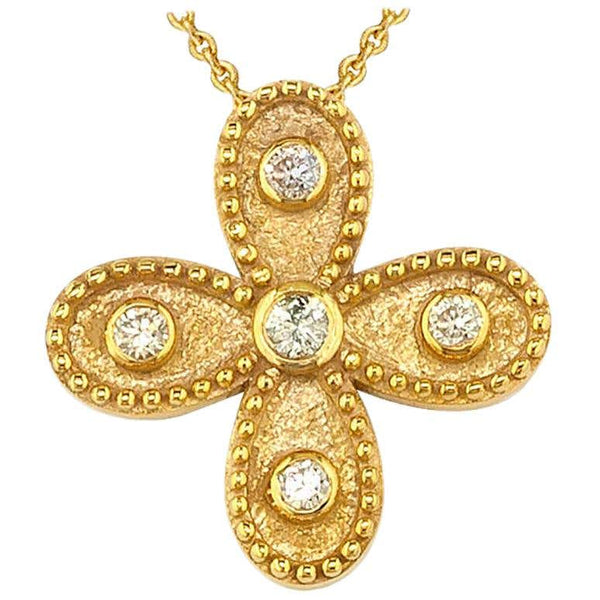 18 Karat Yellow Gold Diamond Cross Chain Pendant Necklace
