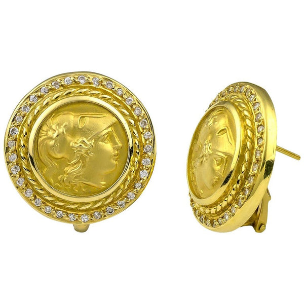 18 Karat Yellow Gold Diamond Coin Stud Earrings of Athina