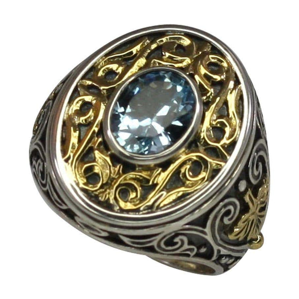 18 Karat Gold and Silver Ring with Blue Topaz