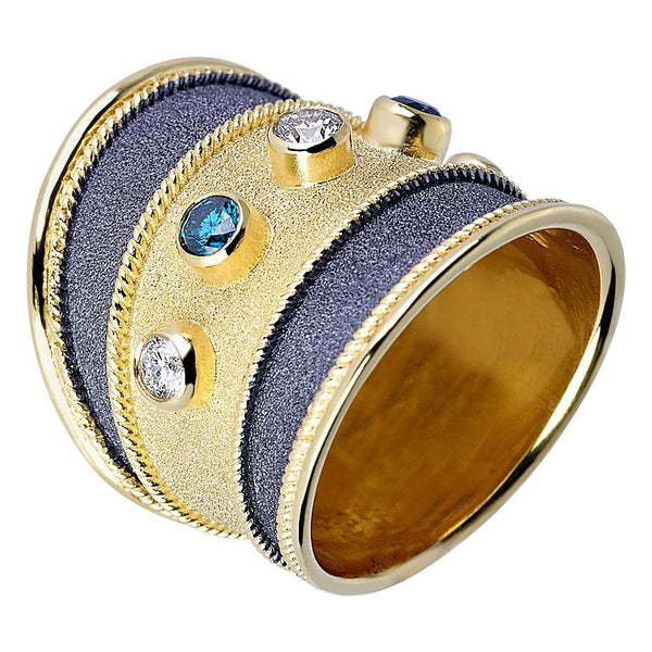 18 Karat Yellow Black Gold Ring with Blue White Diamonds