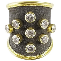 18 Karat Yellow Gold Diamond Black Rhodium Thick Band Ring