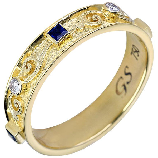 18 Karat Yellow Gold Diamond Unisex Band Ring with Sapphire