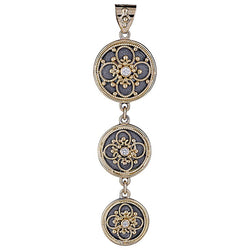 18 Karat Gold Byzantine Pendant With Diamonds And Rhodium
