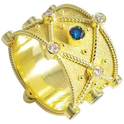 18 Karat Yellow Gold Blue White Diamond Granulation Ring