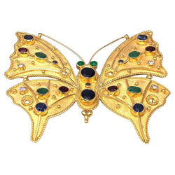 18 Karat Gold Diamond Emerald Sapphire Butterfly Brooch