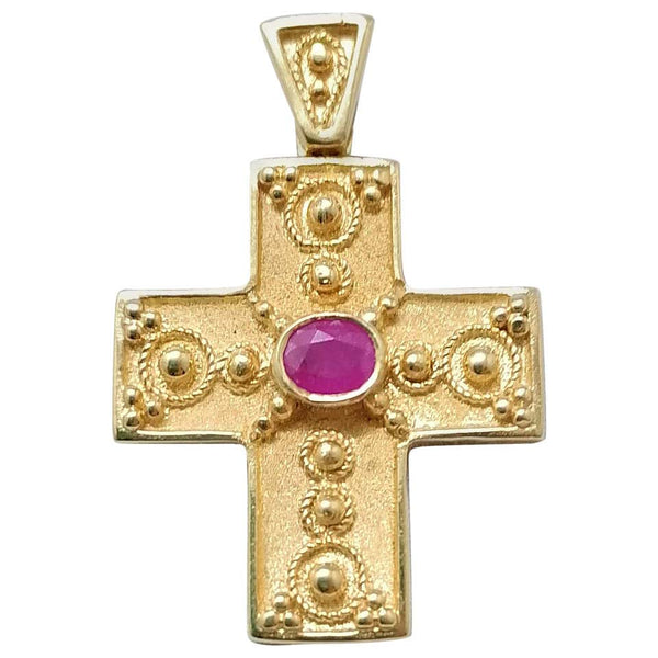 18 Karat Yellow Gold Ruby Granulated Cross Pendant