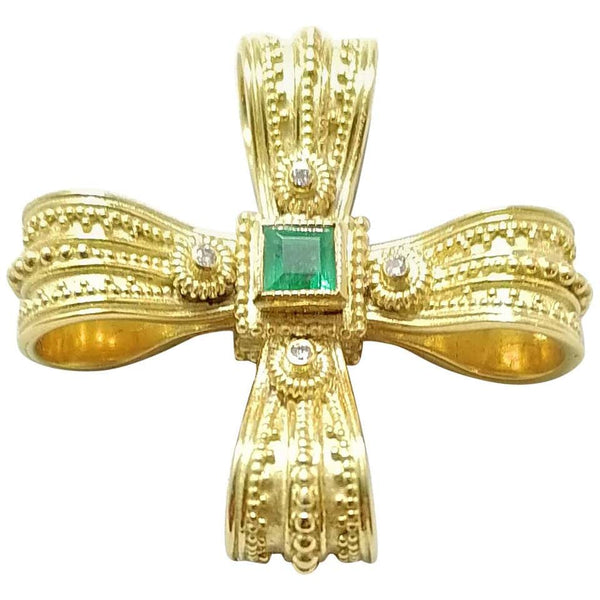 18 Karat Yellow Gold Diamond Emerald and Sapphire Cross