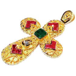 18 Karat Yellow Gold Emerald Ruby and Diamond Cross
