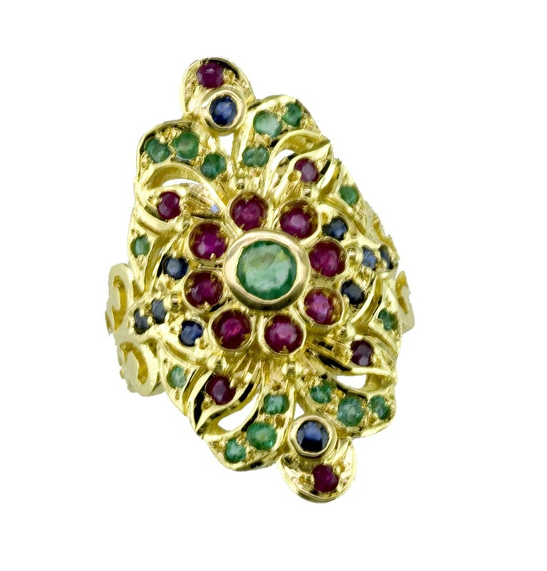 18 Karat Yellow Gold Emerald Ruby Sapphire Byzantine Ring