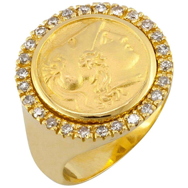18 Karat Yellow Gold Diamond Bezel Coin Ring With Athena