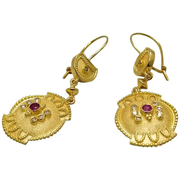18 Karat Yellow Gold Diamond Ruby Dangle Drop Earrings