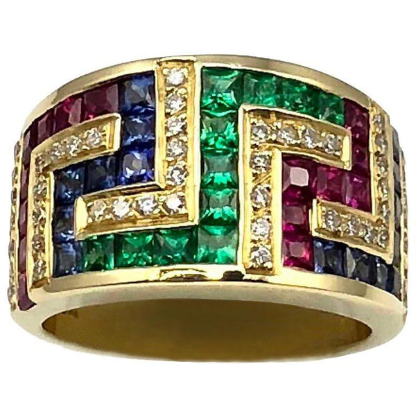 18 Karat Yellow Gold Greek Key Ruby Sapphire Emerald Ring
