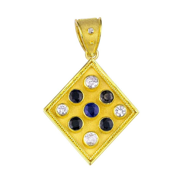 Reversible 18 Karat Gold Sapphire and Diamond Coin Pendant