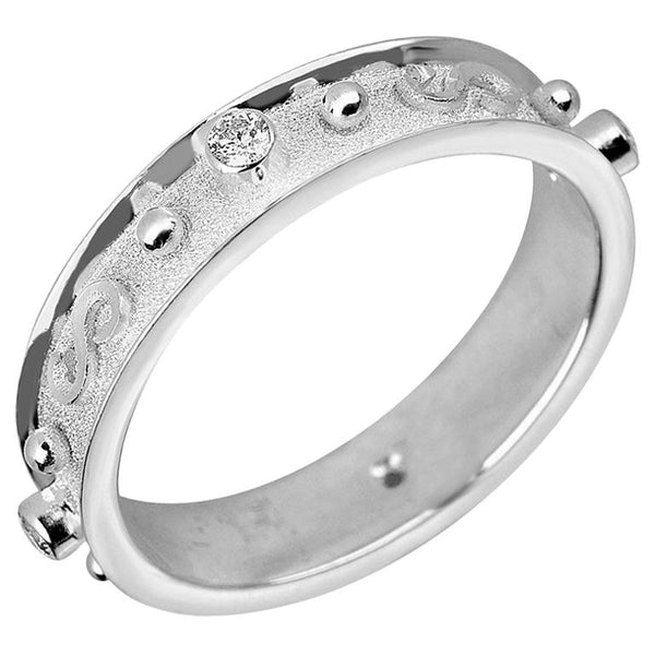 18 Karat White Gold Diamond Band Ring With Granulation Work