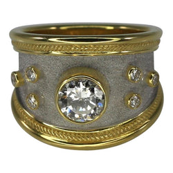 0.95 Carat Diamond Ring in 18 Karat Yellow Gold and Rhodium