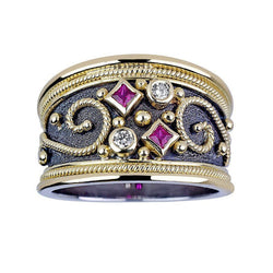 18 Karat White and Yellow Gold Byzantine Diamond Ruby Ring