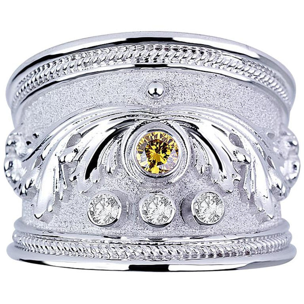18 Karat White Gold Diamond Band Ring with a Yellow Diamond
