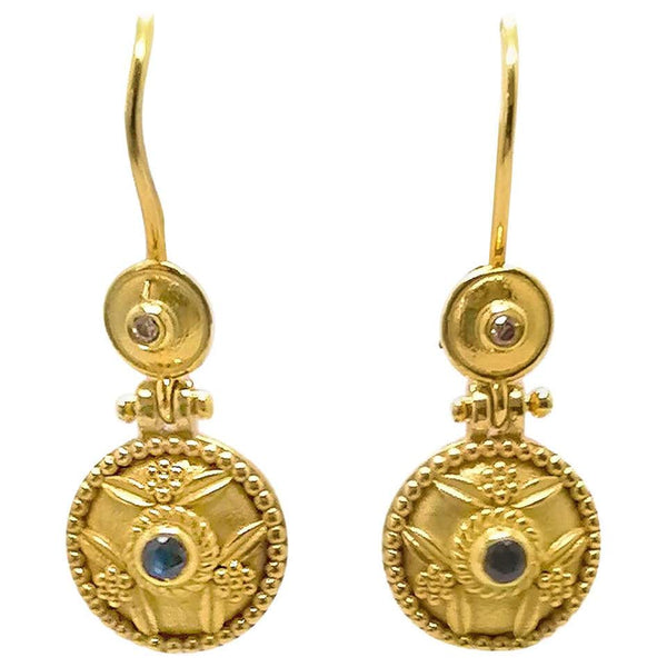18 Karat Yellow Gold Sapphire Byzantine Drop Earrings