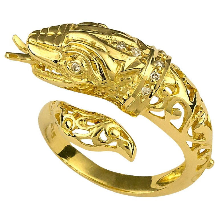 18 Karat Yellow Gold Diamond Snake Ring Carved by Hand