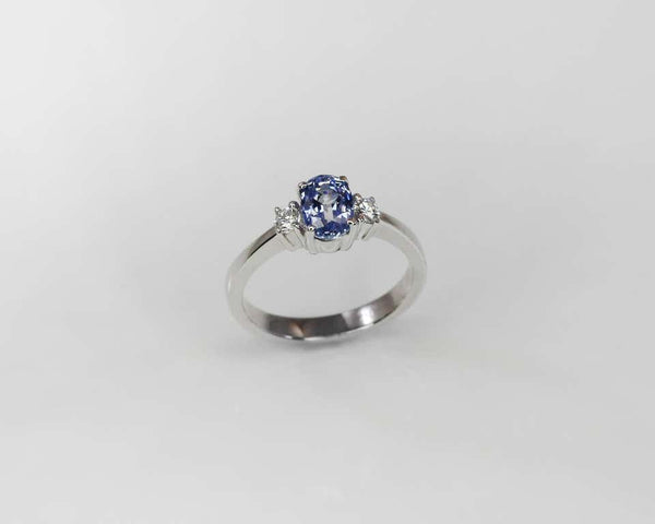 18 Karat White Gold Oval Natural Sapphire and Diamond Ring
