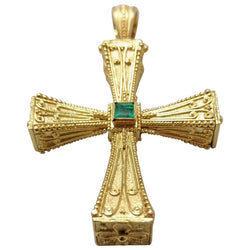 18 Karat Yellow Gold Emerald Sapphire Reversible 3-D Cross