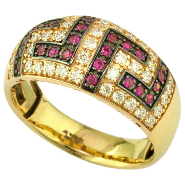 18 Karat Yellow Gold Ruby Diamond Two-Tone Greek Key Ring